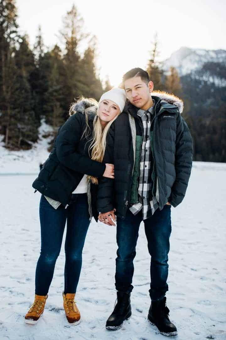 Winter-Pine-tree-Engagement-Photo-Utah