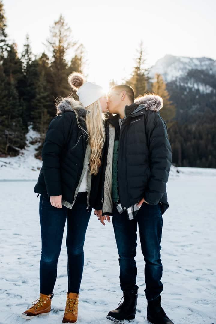 Romantic-Sunset-Engagement-Kisses-Utah