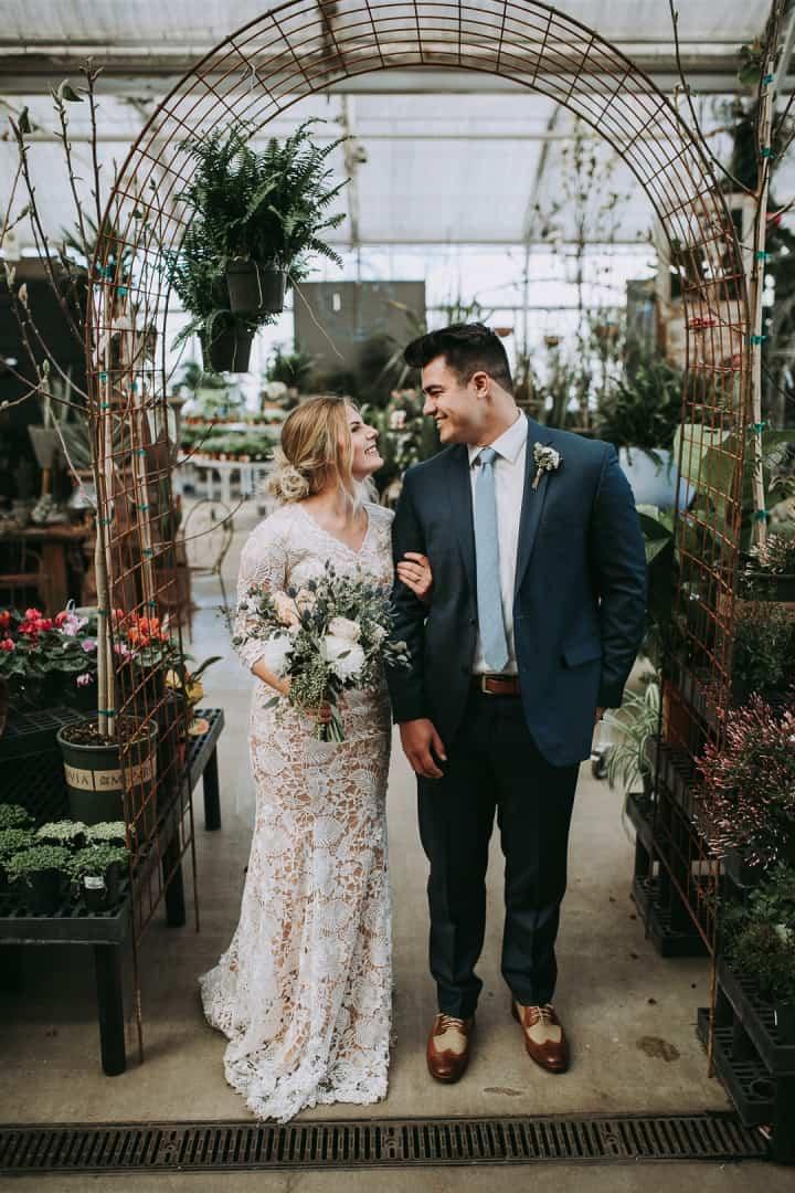 Lace-Wedding-Dress-And-Navy-Blue-Tux-Utah