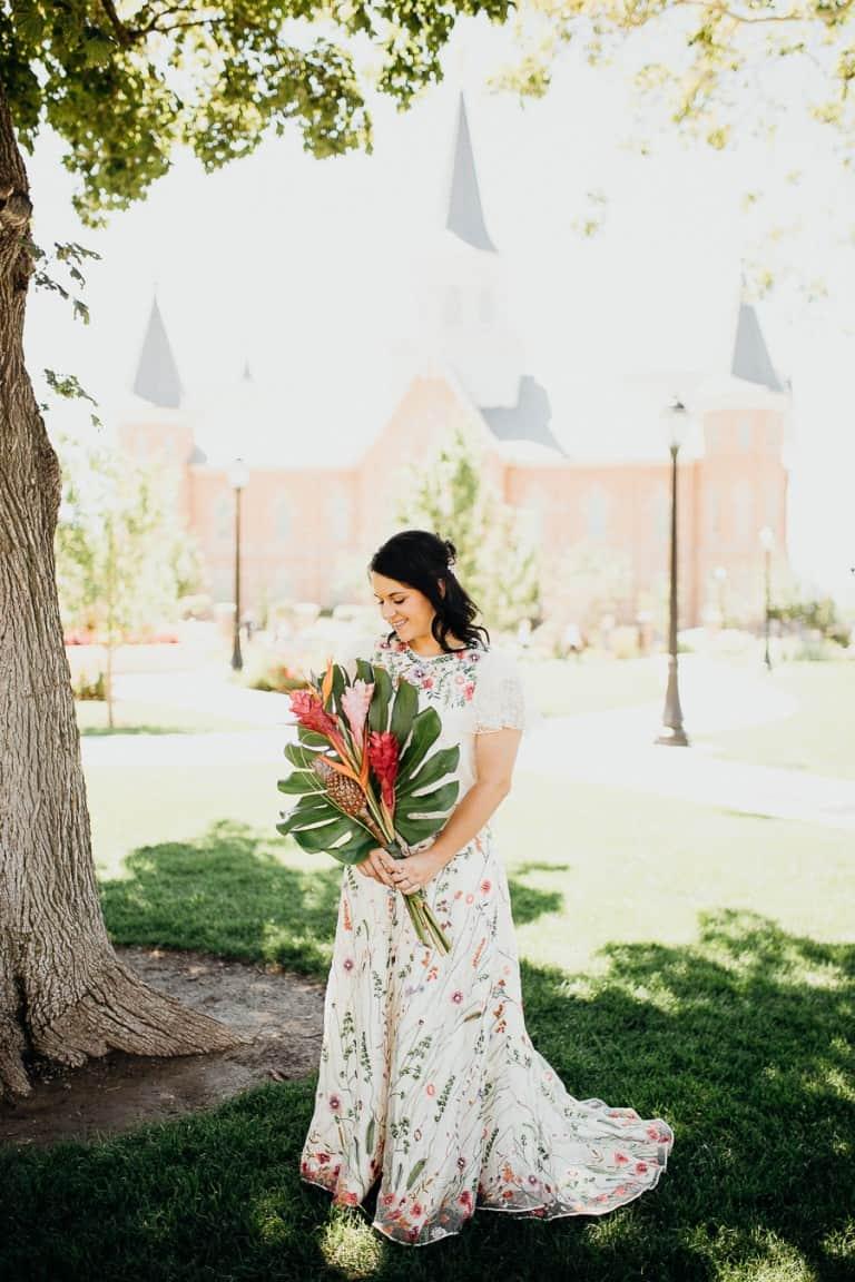 Beautiful bride and boquet