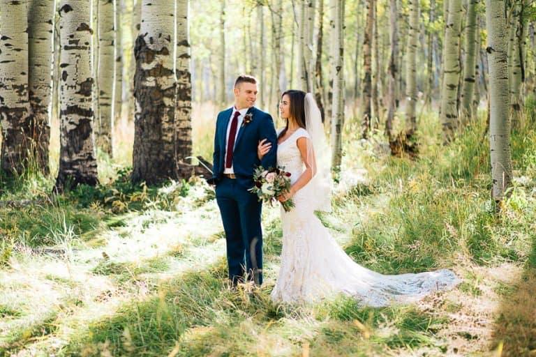 Happy natural wedding couple