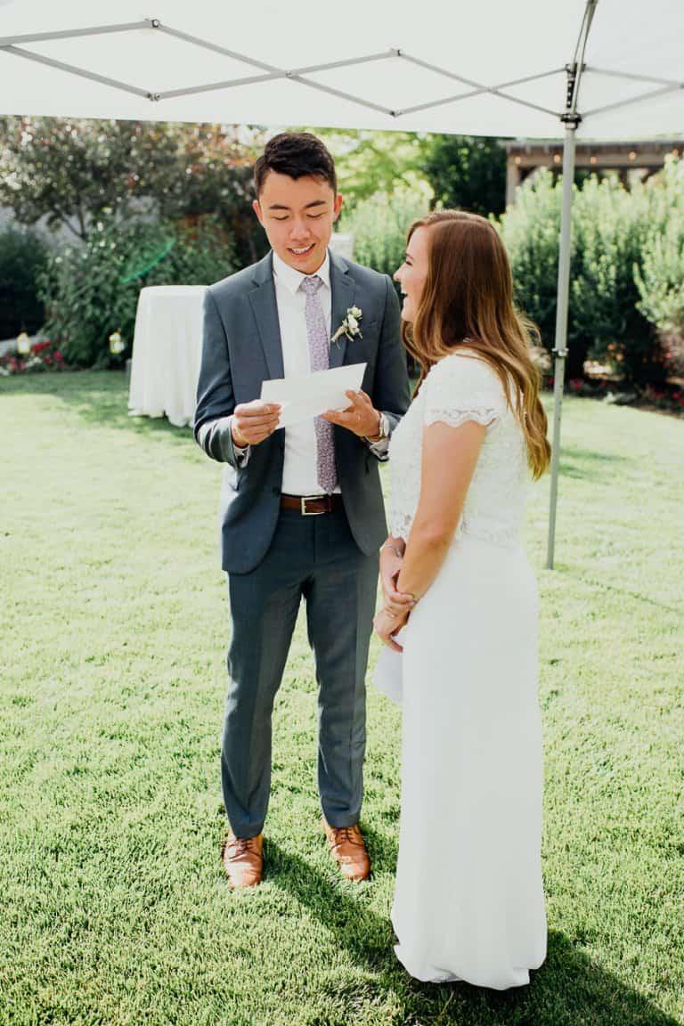 Bright and happy backyard wedding