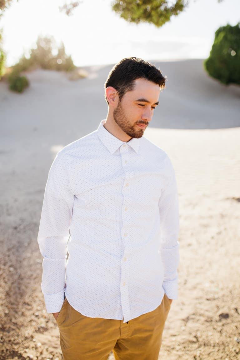 Romantic fiancé in desert