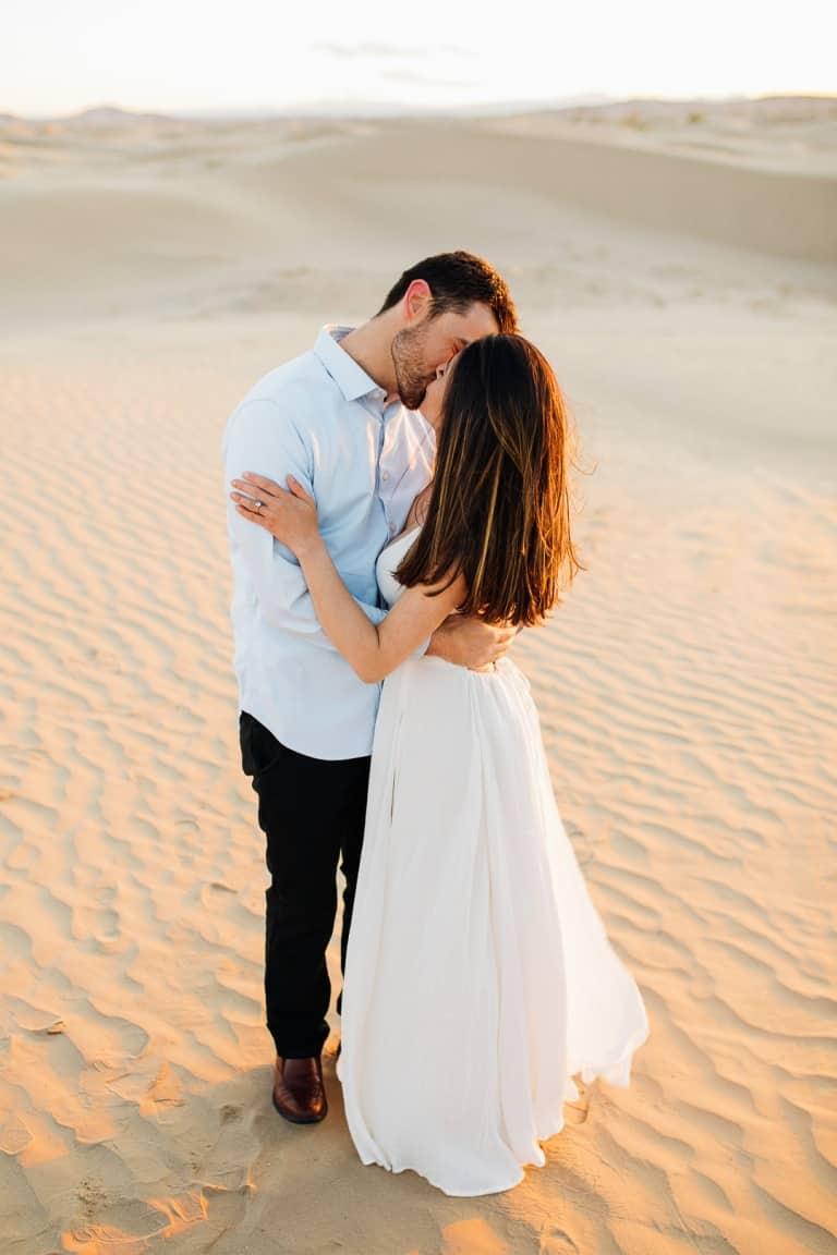 Romantic golden hour kisses