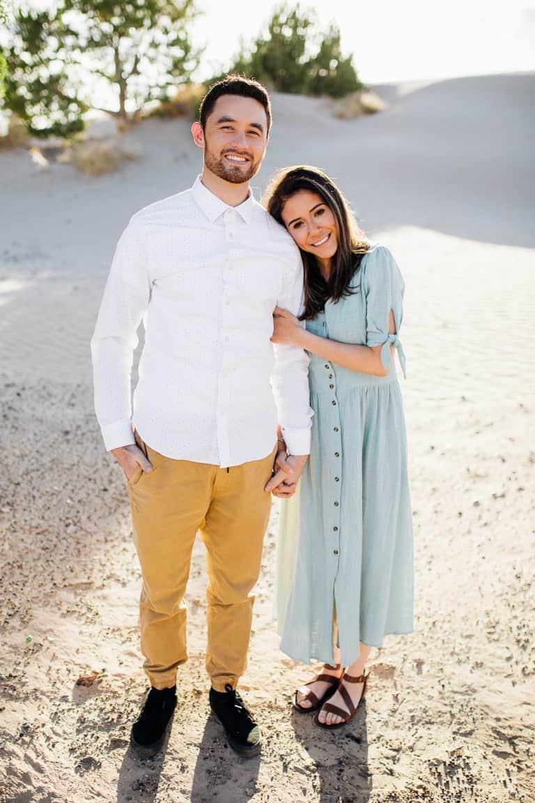 Light blue dress engagement photos