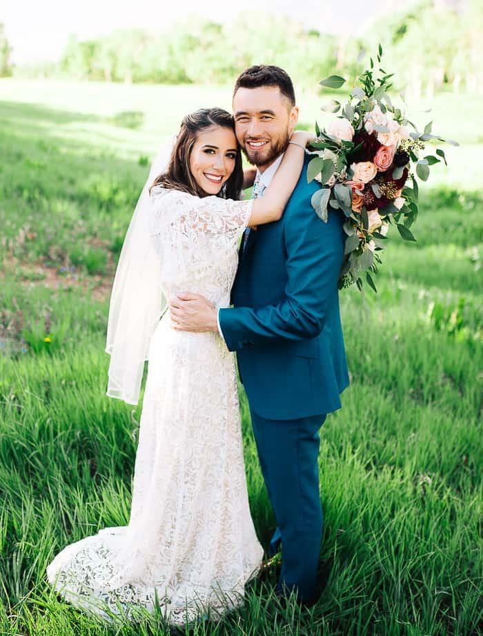 Bridal photos in Utah wildflower meadow provo