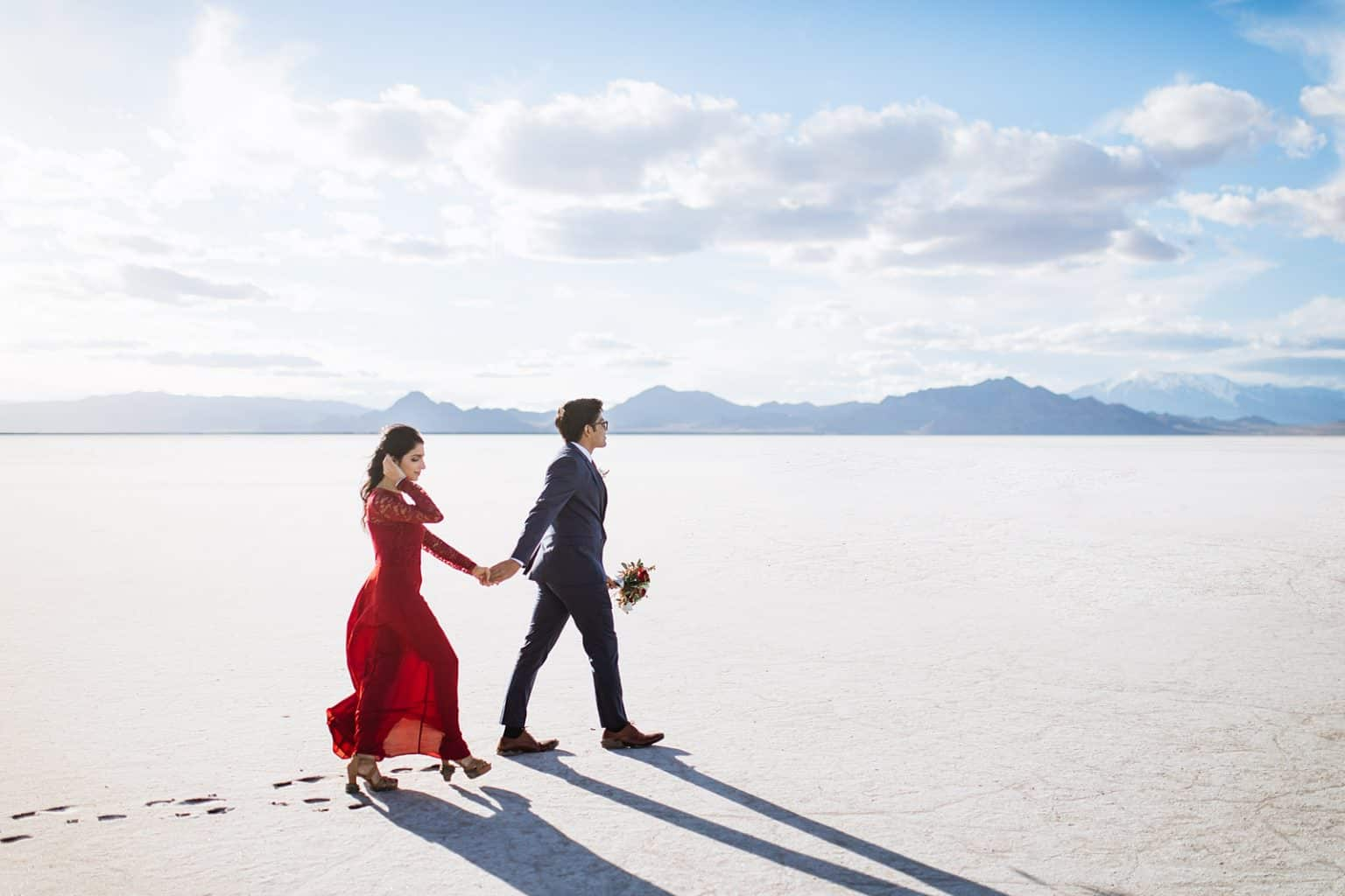 Bonneville Salt Flats Engagement Photos, Utah engagement session, engagement photography, red dress