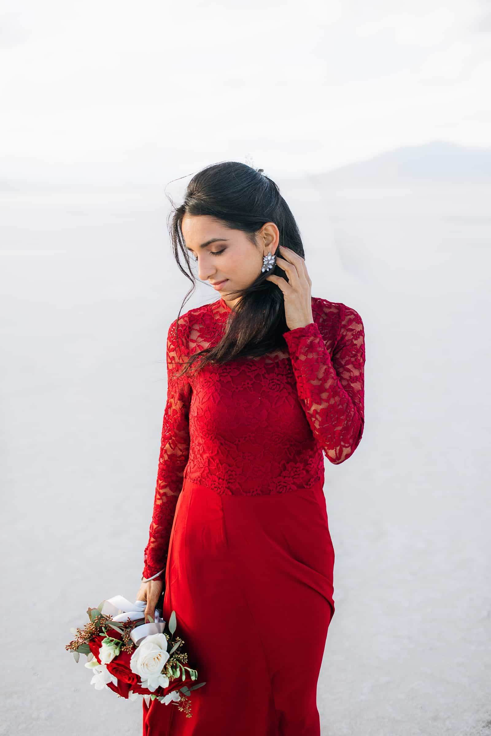 Red lace dress, what to wear for engagement pictures, utah engagement photographer, salt flats, Indian wedding
