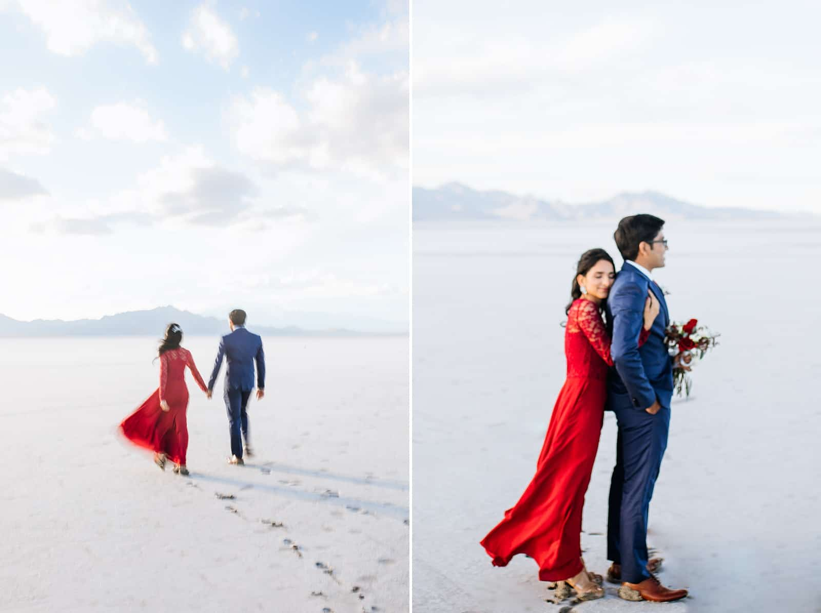 bride and groom, Red lace dress, what to wear for engagement pictures, utah engagement photographer, salt flats, Indian wedding