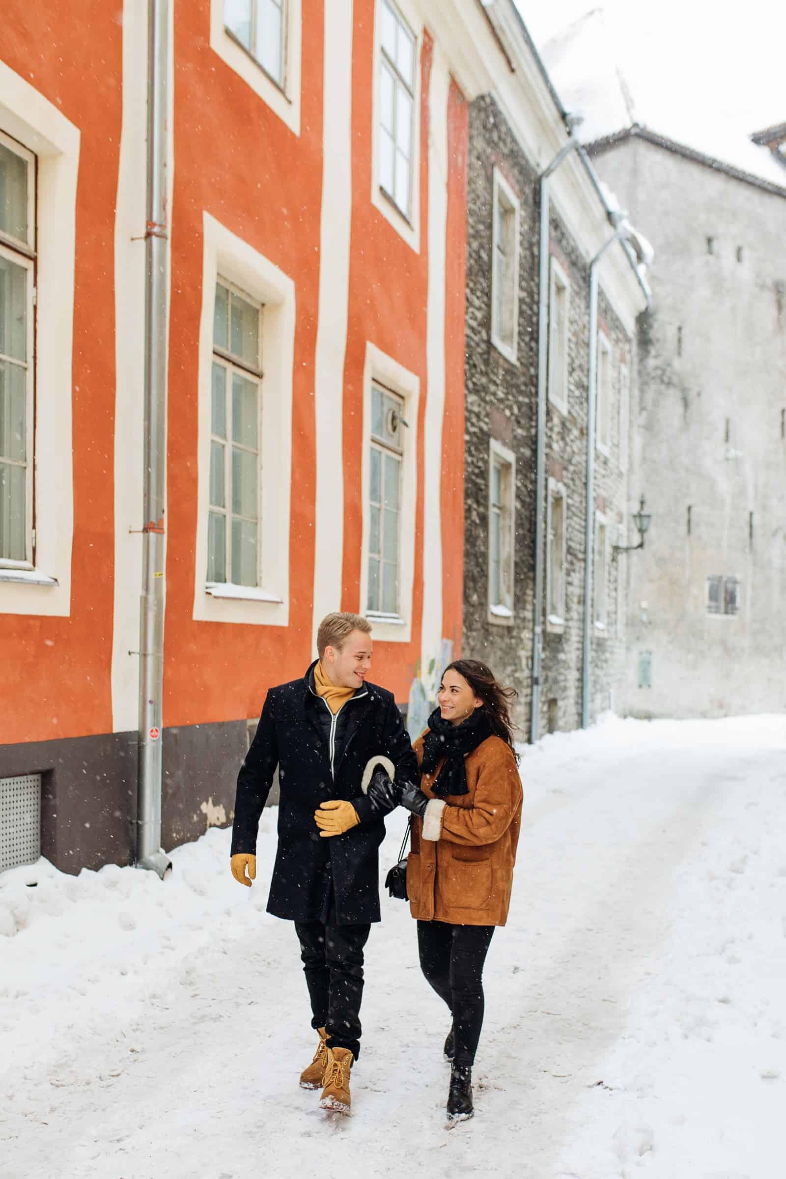 estonia engagement pictures, European city, travel photography, orange building, charming town