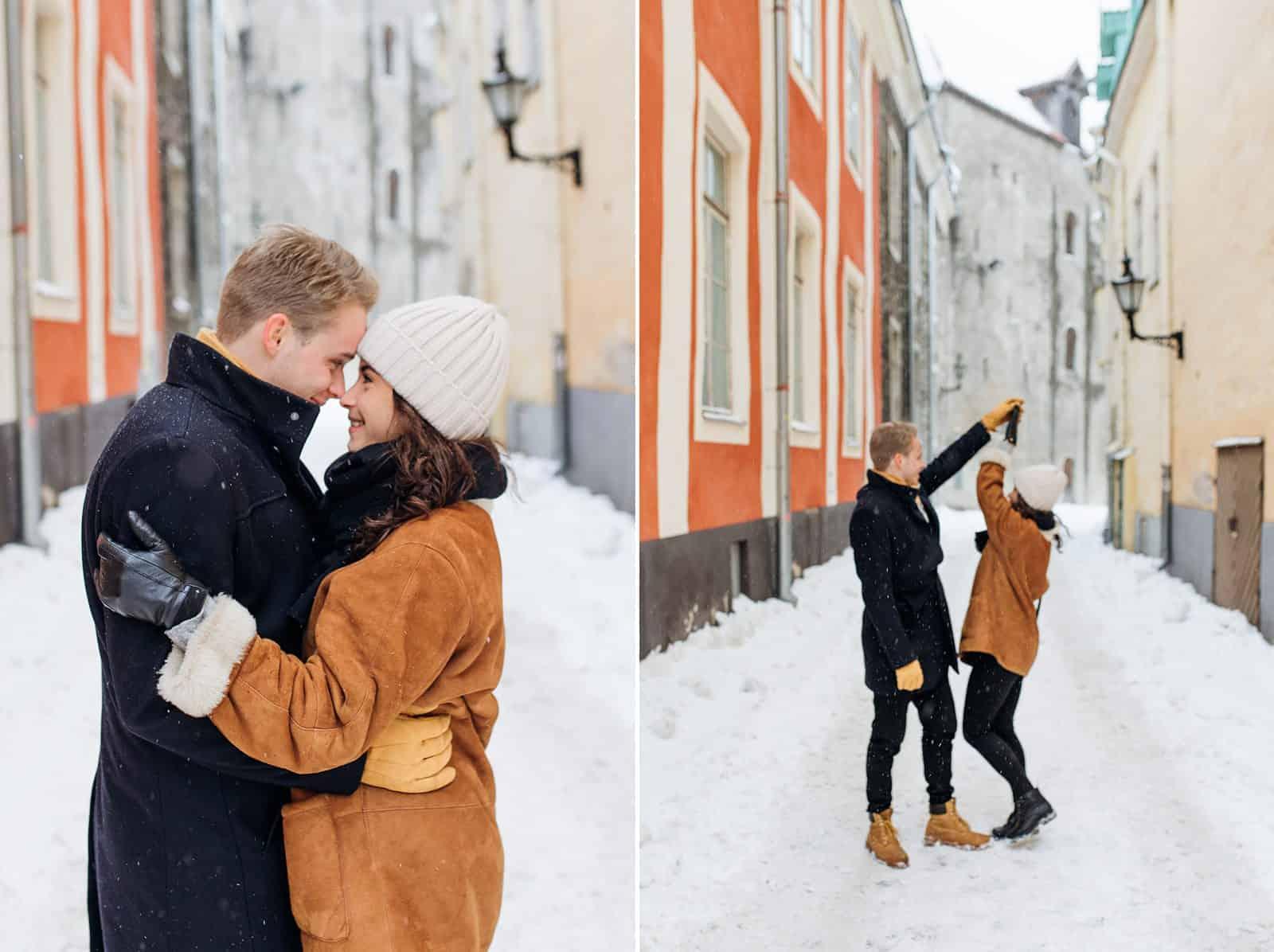 estonia engagement pictures, European city, travel photography, orange building, charming town, dancing in the streets