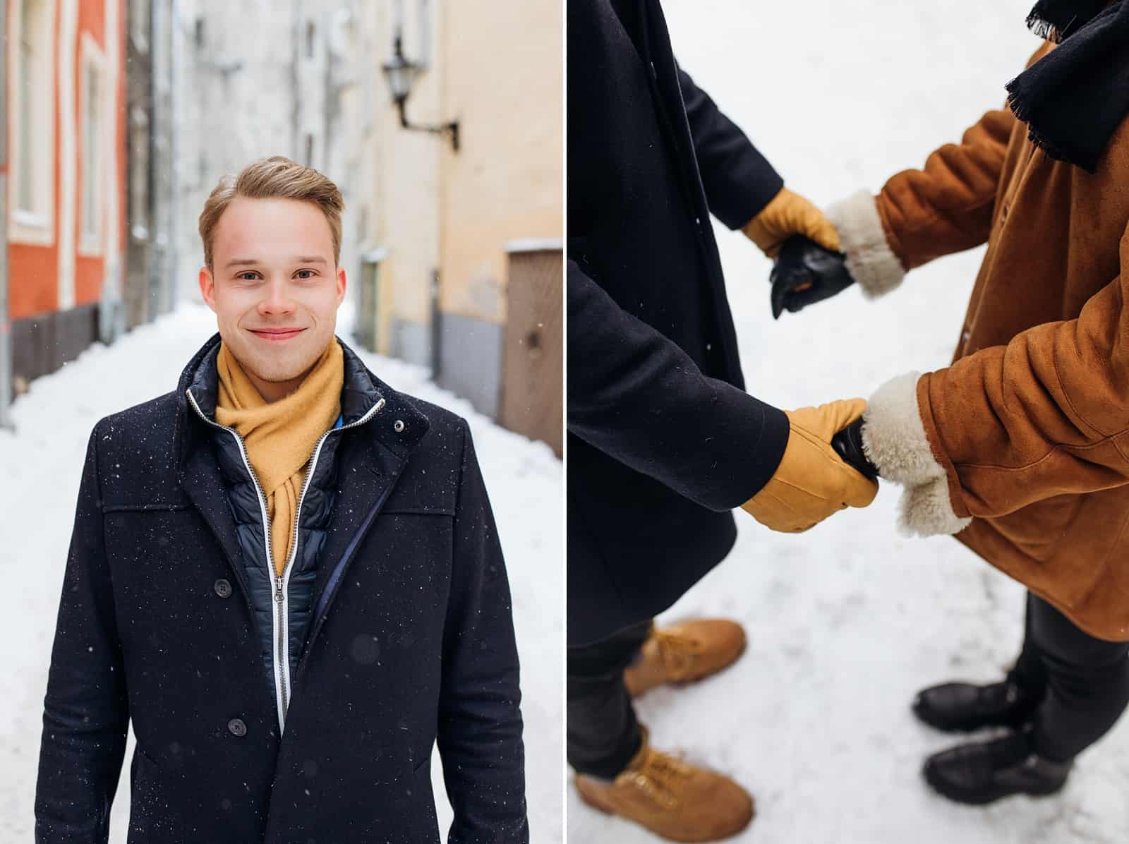 winter couple with hats, coats, scarves and gloves, engagement pictures