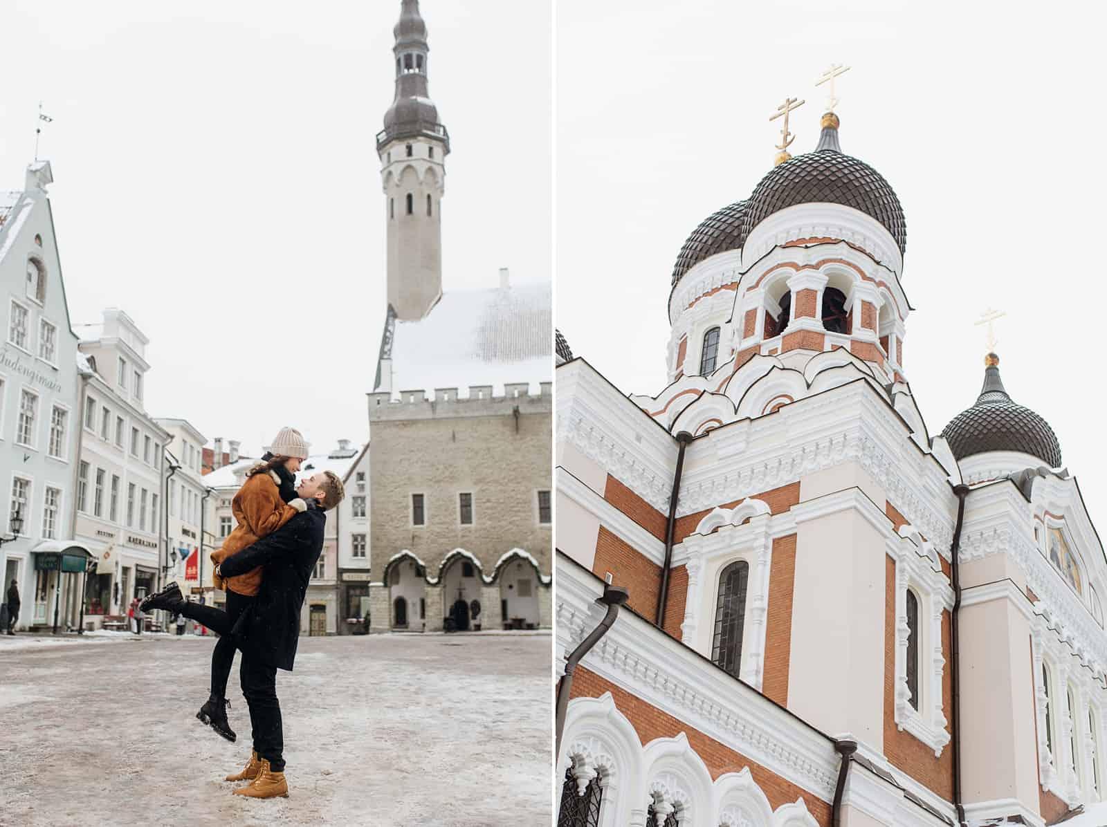couple estonia engagement pictures, European city, travel photography