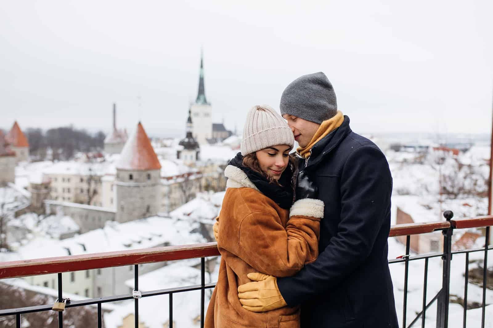 couple estonia winter engagement pictures, European city, travel photography