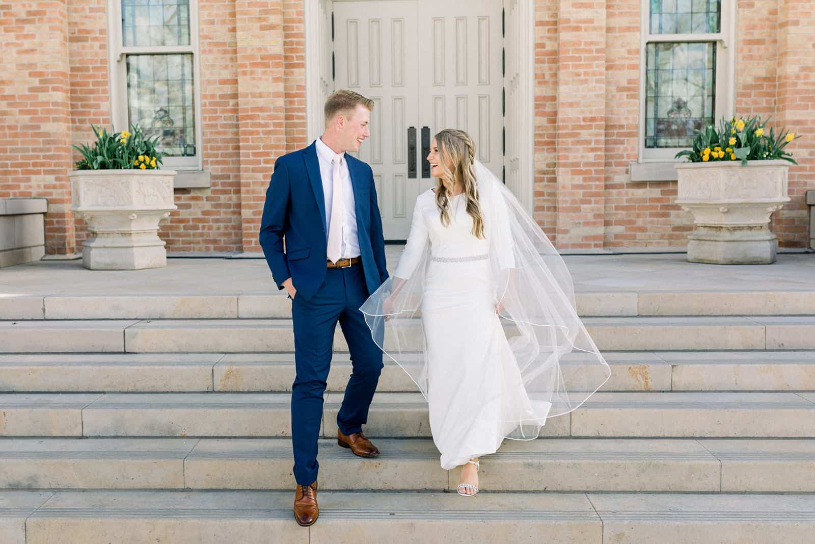 bride and groom, spring wedding Provo City Center LDS Temple