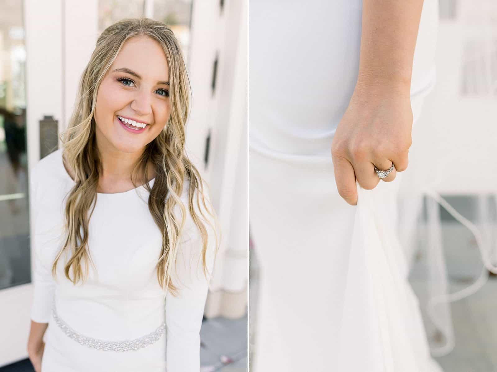 modest wedding dress, spring bride, wedding ring, engagement ring, long wedding hairstyle, LDS bride, modern wedding dress