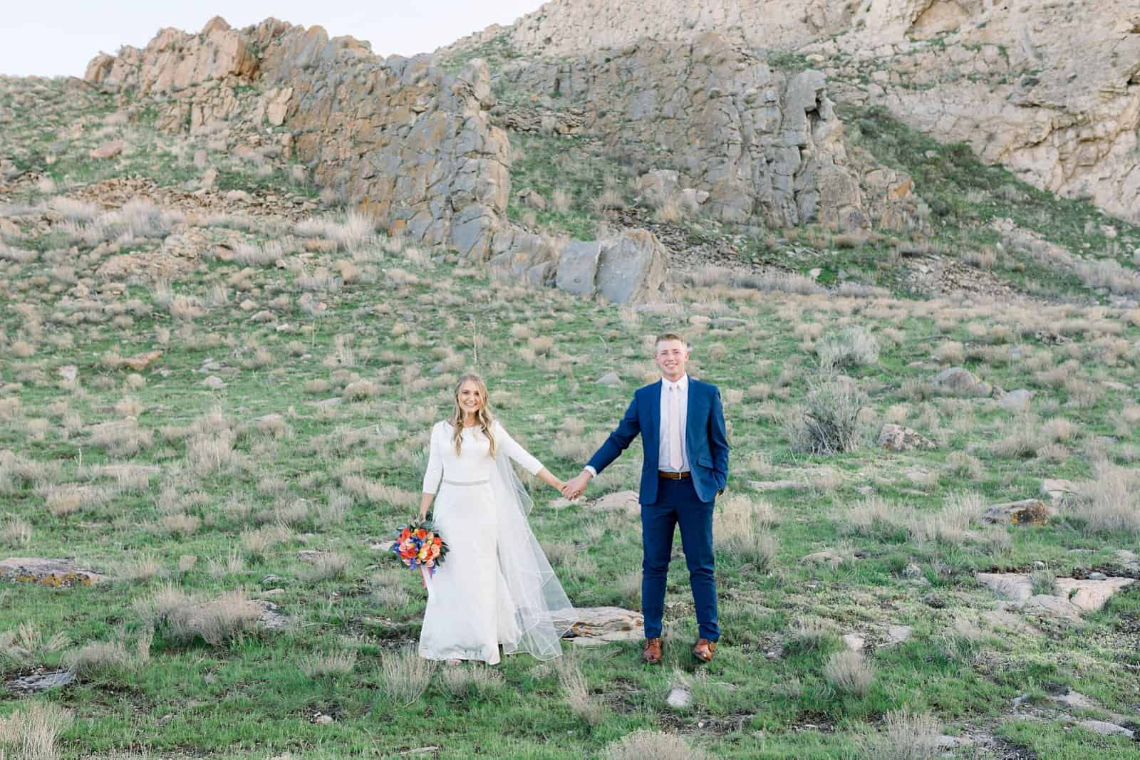 Ireland field, bride and groom, Utah mountains, nature wedding photography, bride and groom spring wedding