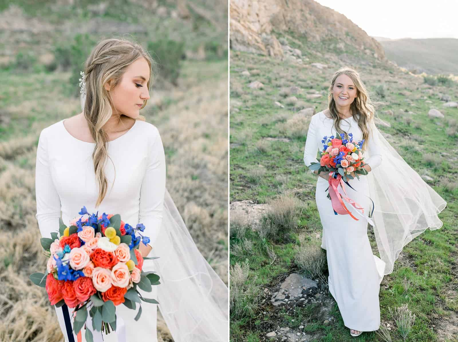 spring wedding, modest wedding dress, LDS bride, Utah wedding photography, long sleeve wedding dress, long hairstyle bridal