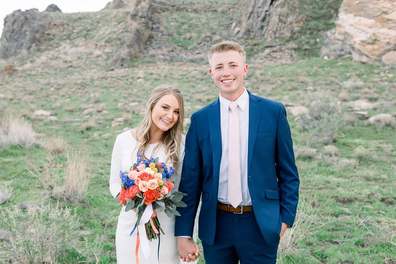 colorful spring flowers, wedding bouquet, Ireland field, bride and groom, Utah mountains, nature wedding photography