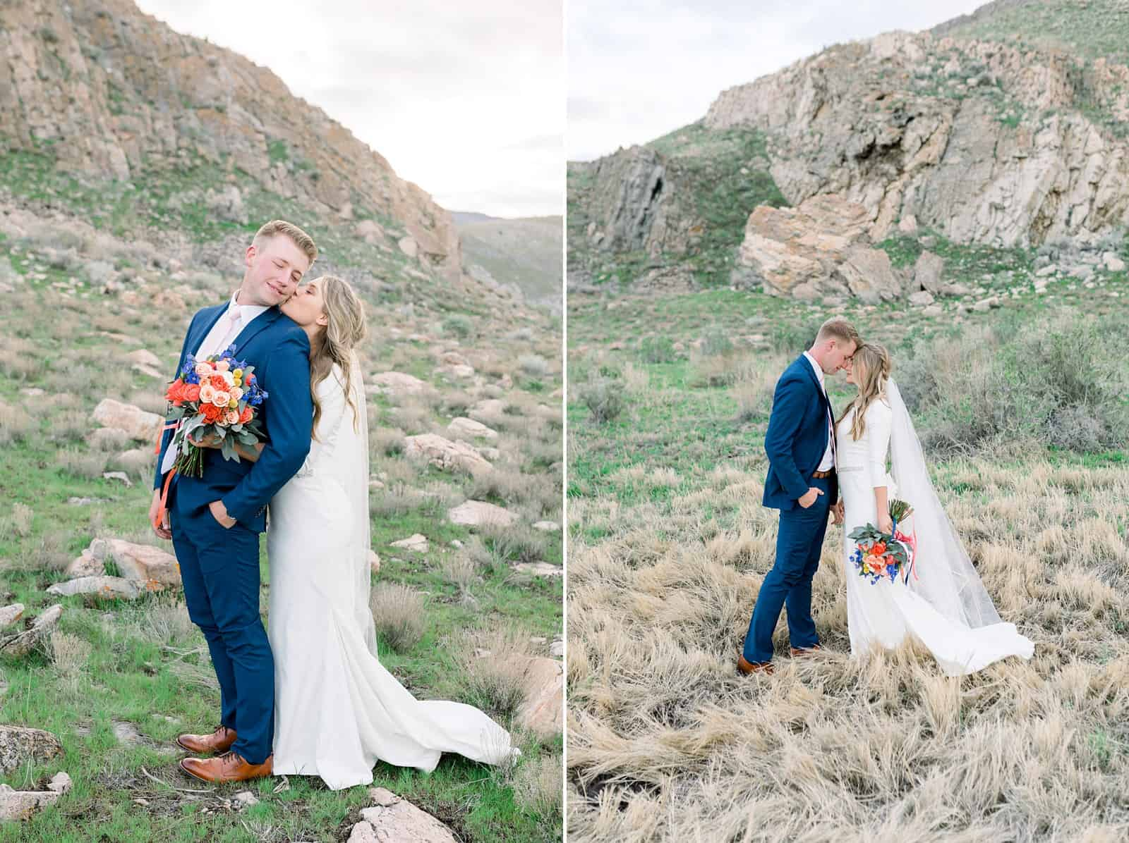 Ireland field, bride and groom, Utah mountains, nature wedding photography, spring wedding
