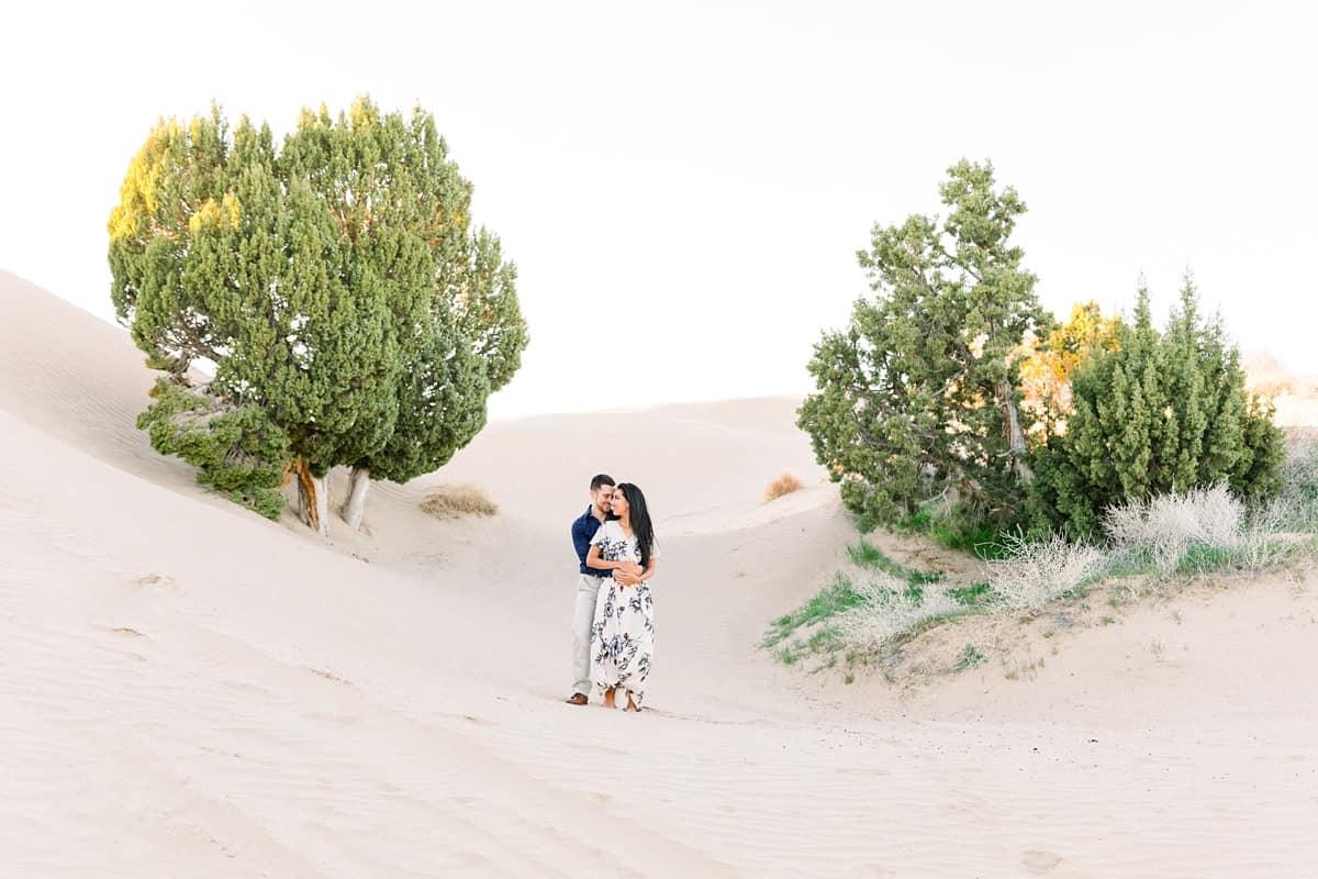 Little Sahara Sand Dunes Engagement Photos with neutral colors