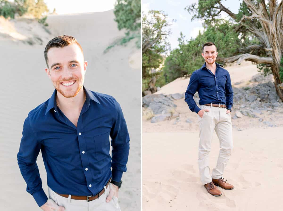 groom outfit, navy shirt, what to wear for engagement pictures