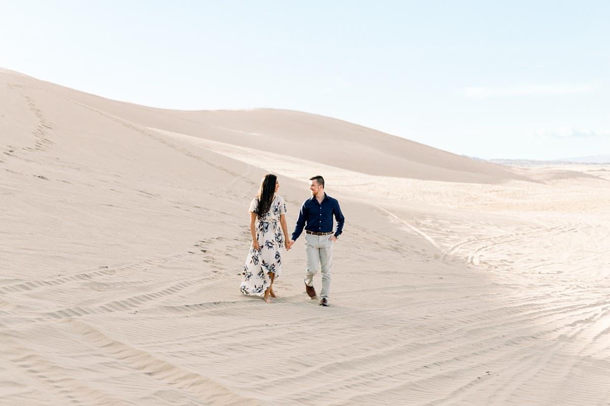 Little Sahara Sand Dunes Engagement Photos with neutral colors, Utah desert photography