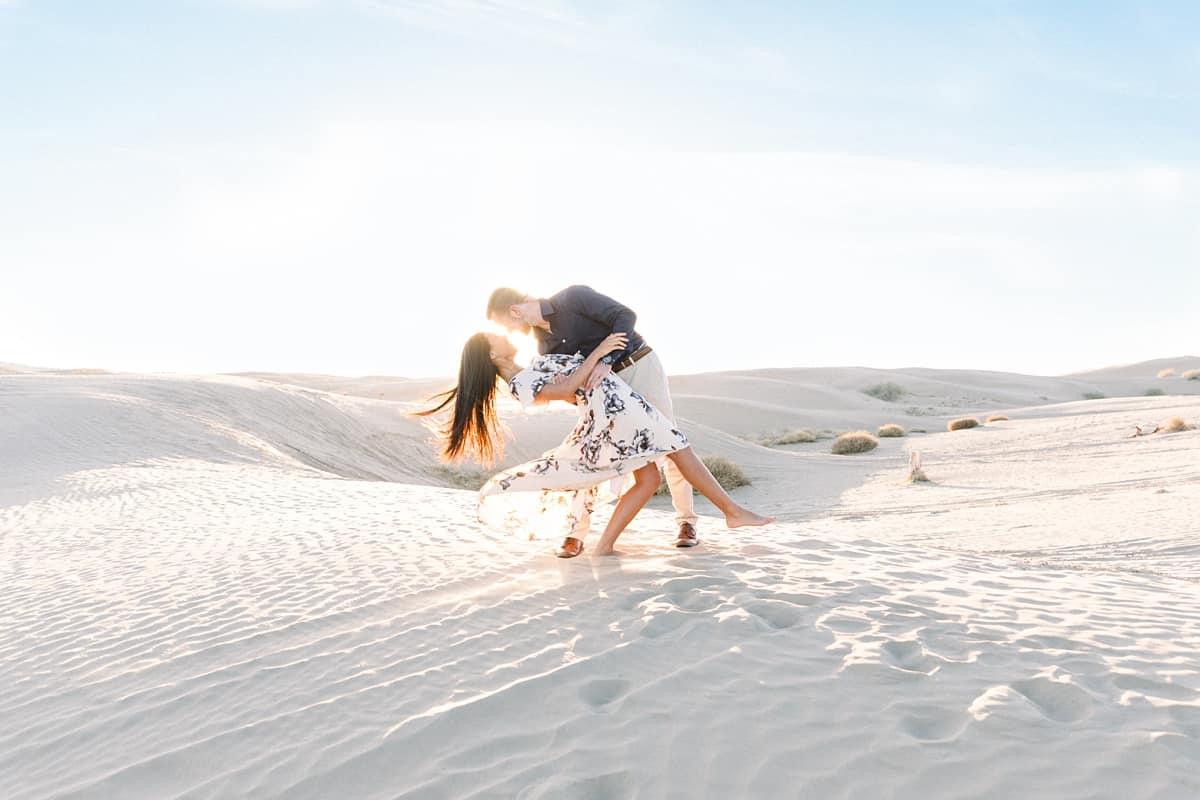 Sunset Sand Dunes Desert Fun Engagement Photos, adventure photography