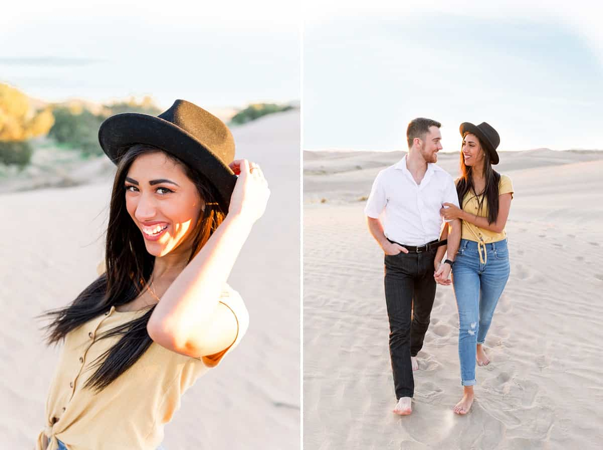 What to wear for engagement pictures, yellow shirt with hat, summer yellow, blue and white outfits