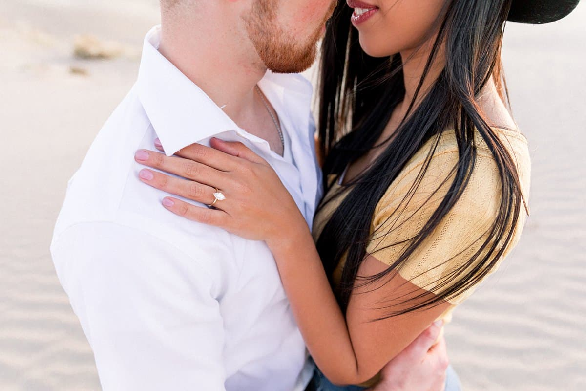 summer engagement photography in Utah, engagement ring, marquis diamond ring