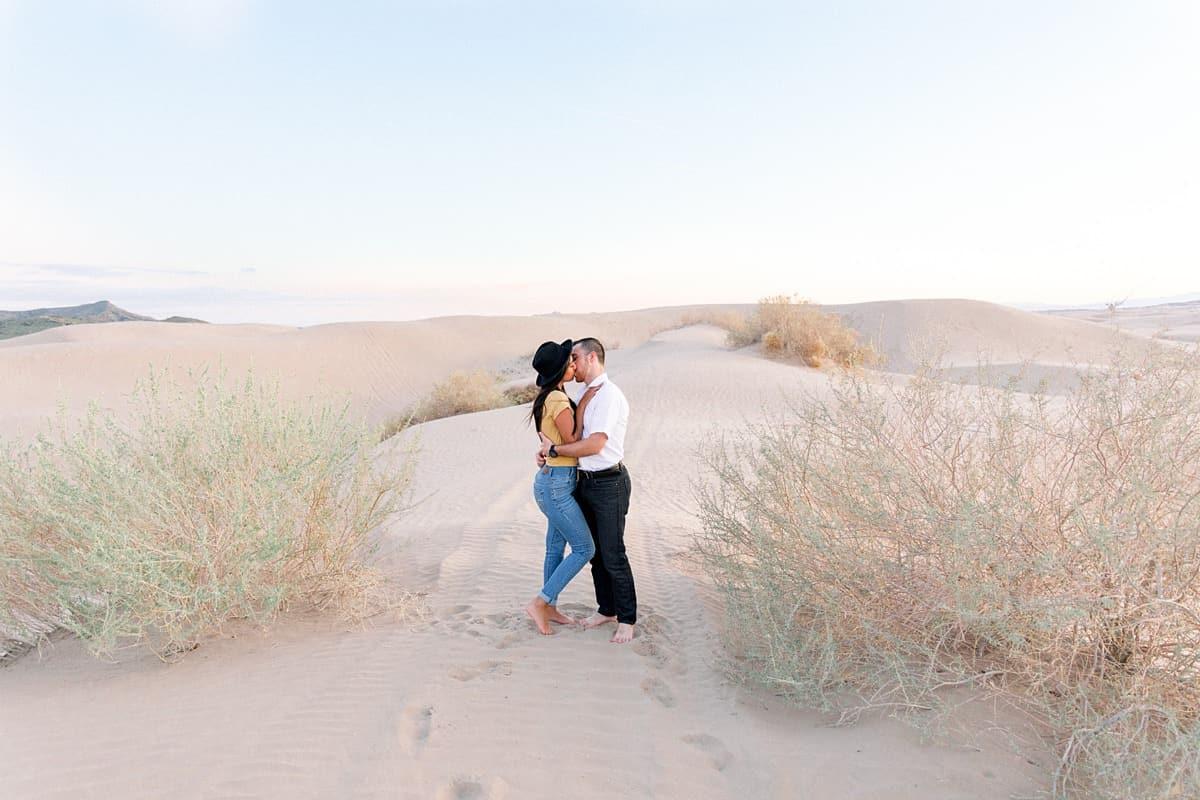 Little Sahara Sand Dunes Engagement Photos, summer outfit, Utah desert photography