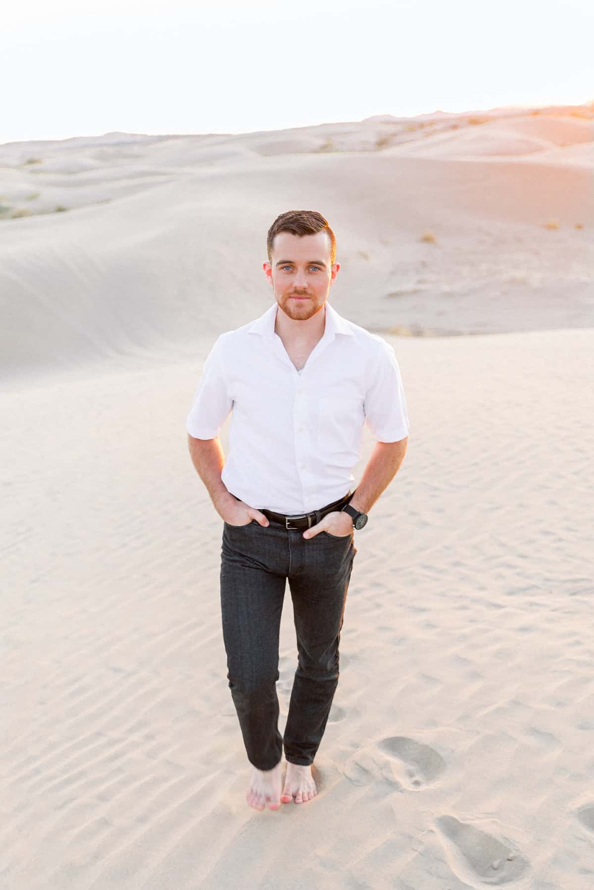 What to wear for engagement pictures, white shirt with black jeans, desert photography, guys outfit, groom outfit