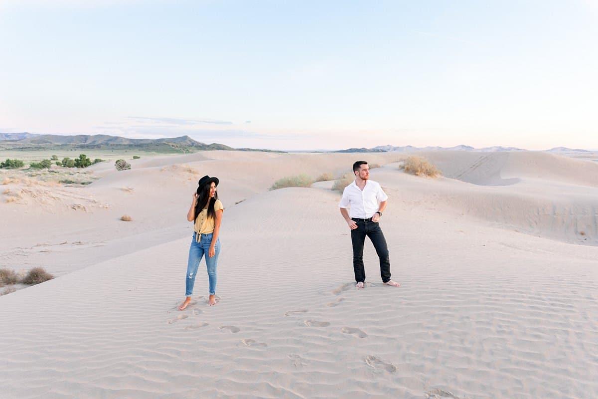 Little Sahara Sand Dunes Engagement Photos at sunset, summer outfit, Utah desert photography
