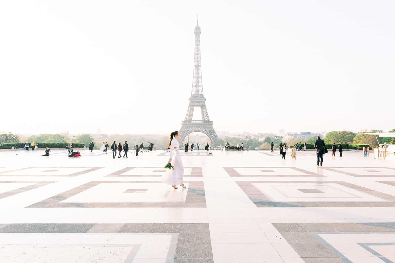 Paris Wedding Inspiration, bride near the Eiffel Tower