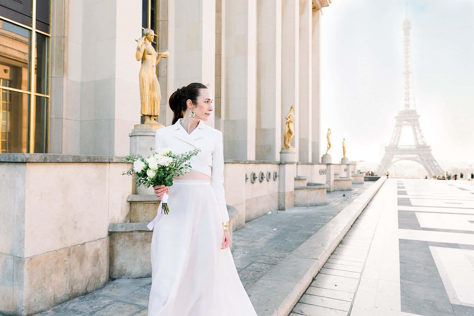 Bride in Paris, France near Eiffel Tower