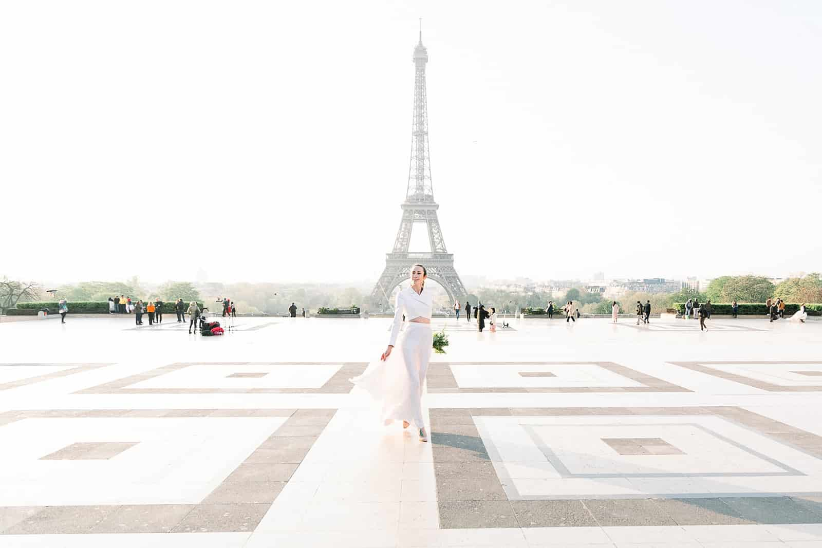 Bride in Paris, France with Eiffel Tower
