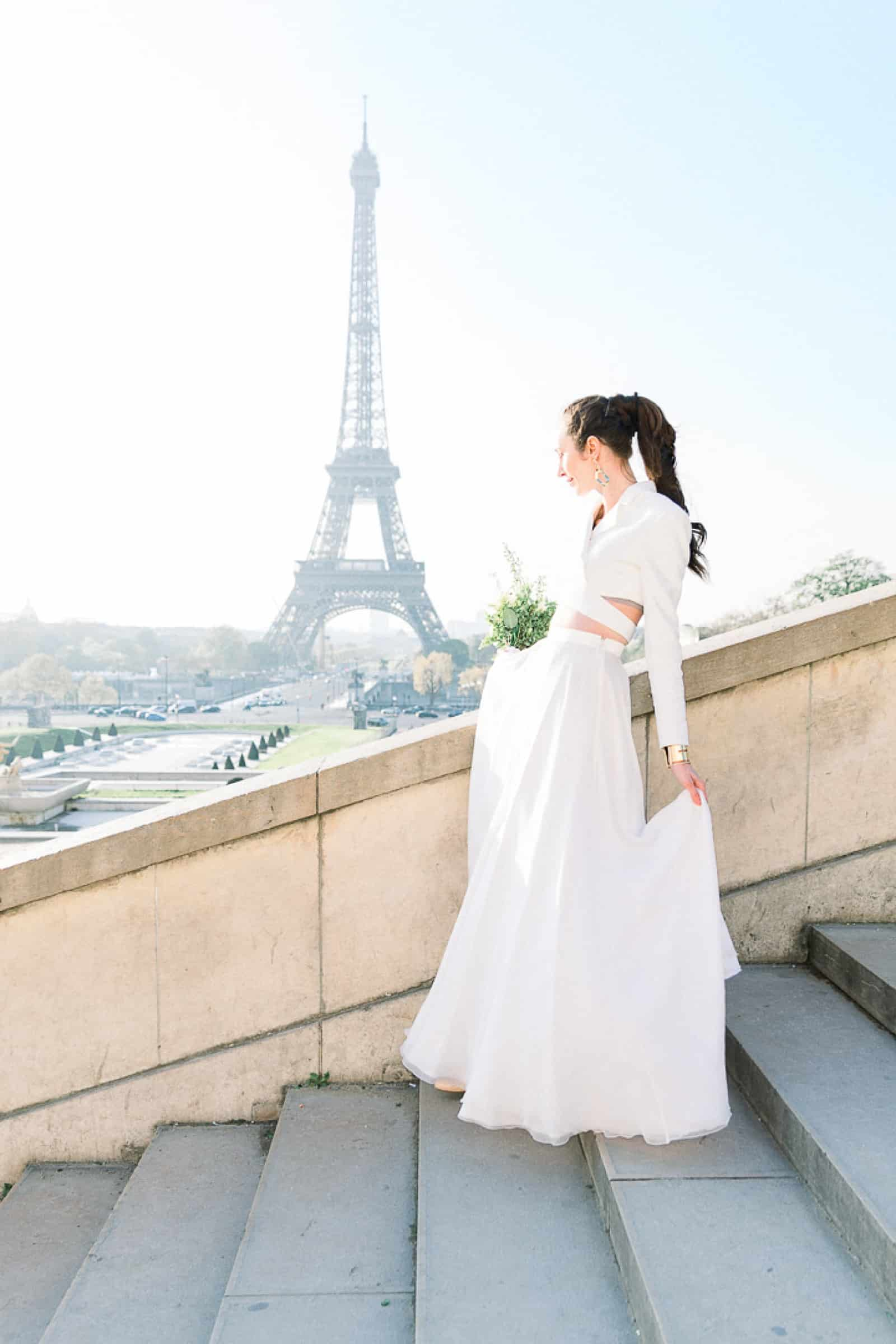 Modern Bride in Paris, France with Eiffel Tower