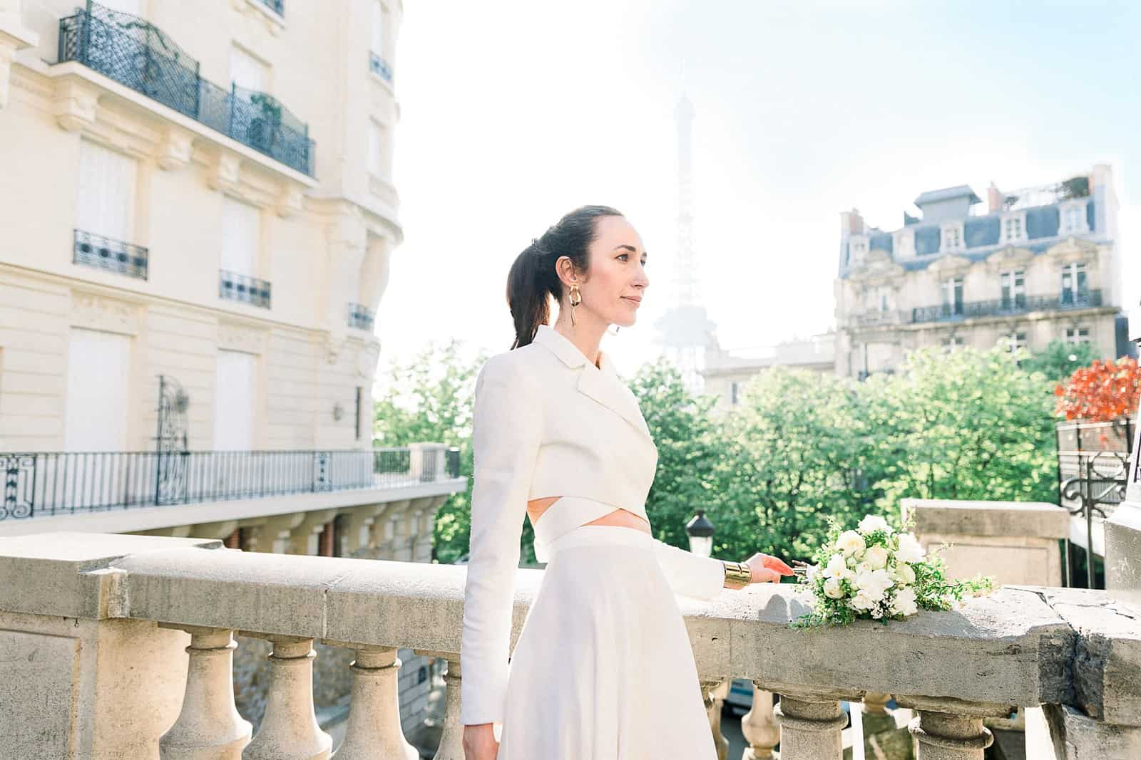 Modern high fashion bride in Paris, France