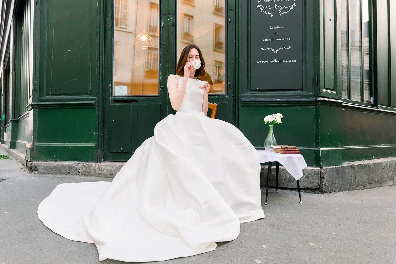 Bride having tea in Paris, France