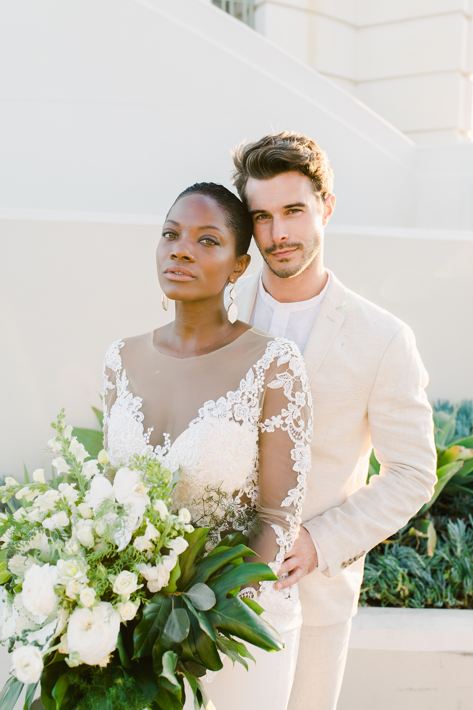 Modern timeless wedding photography at the Griffith Observatory in Los Angeles, California destination wedding photographer, bride and groom