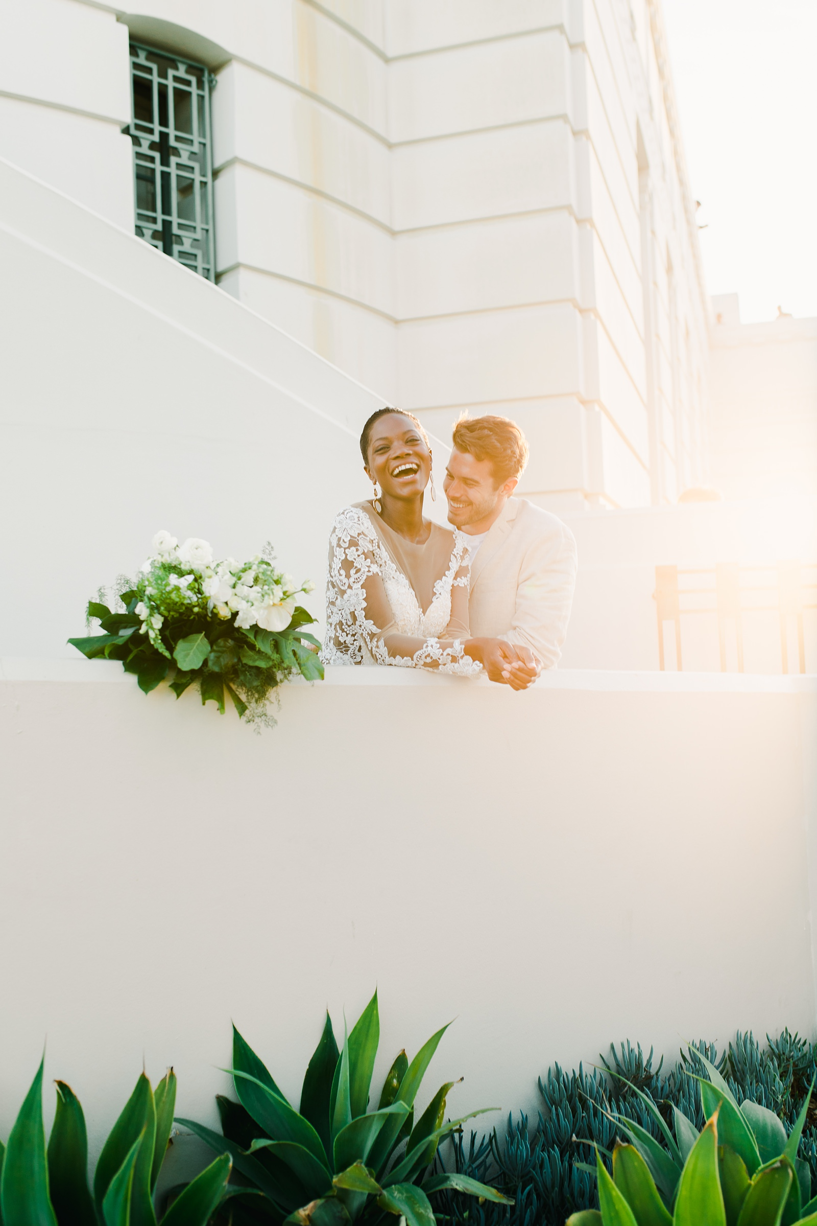 Modern timeless wedding photography at the Griffith Observatory in Los Angeles, California destination wedding photographer, sunset bride and groom