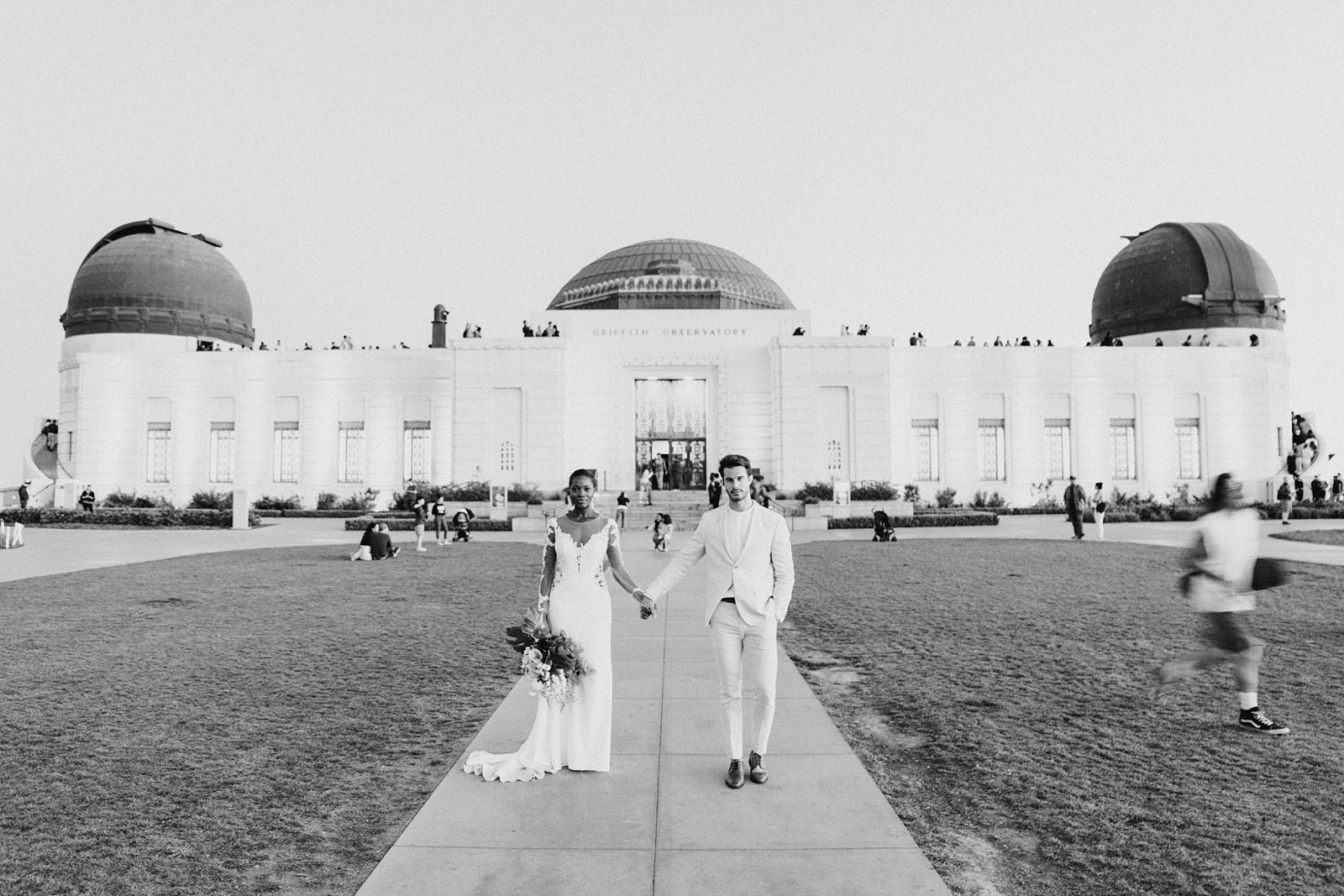 Modern timeless wedding photography at the Griffith Observatory in Los Angeles, California destination wedding photographer, black and white film photography
