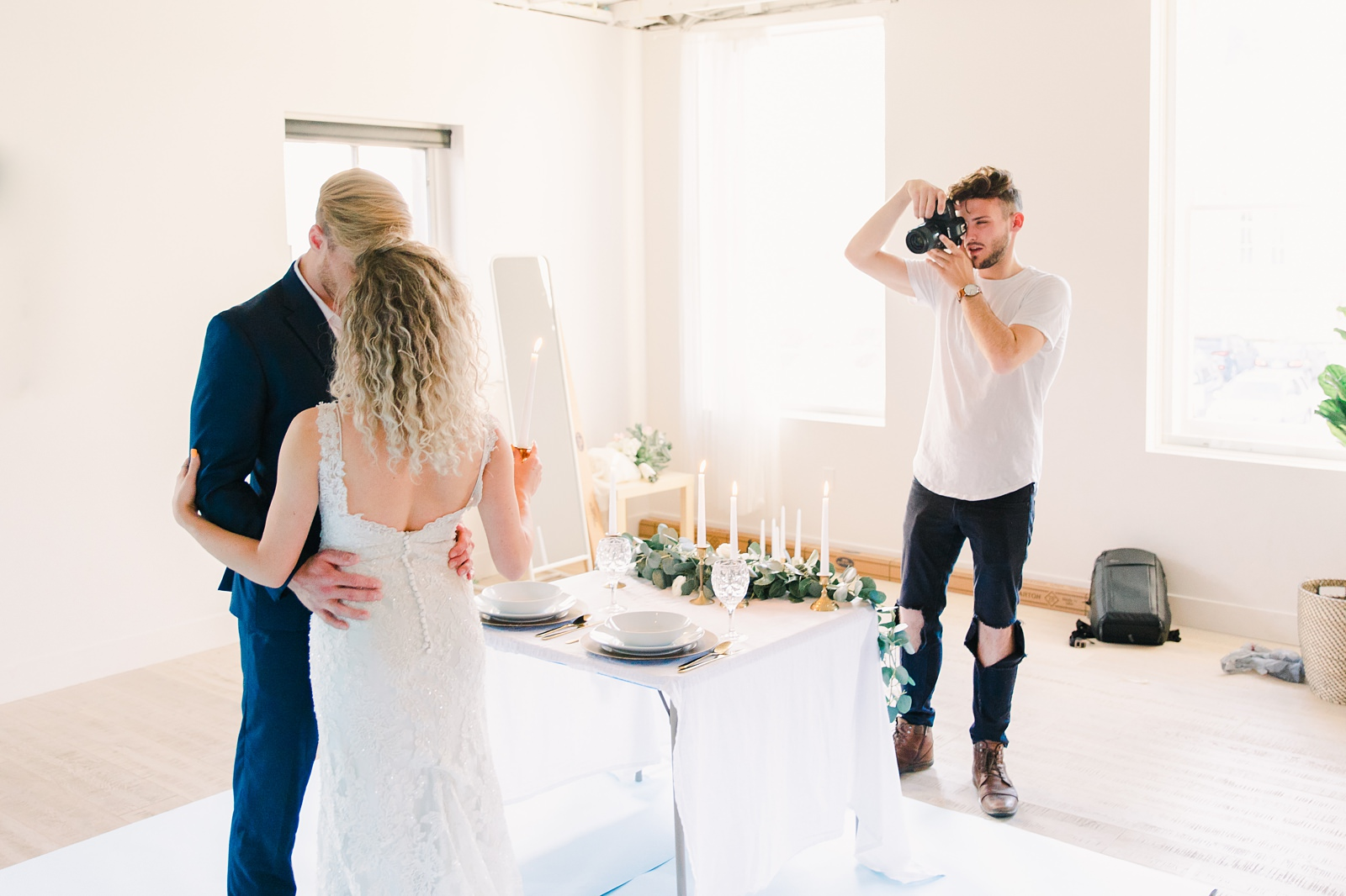 Utah wedding photographer and videographer, behind the scenes with bride and groom