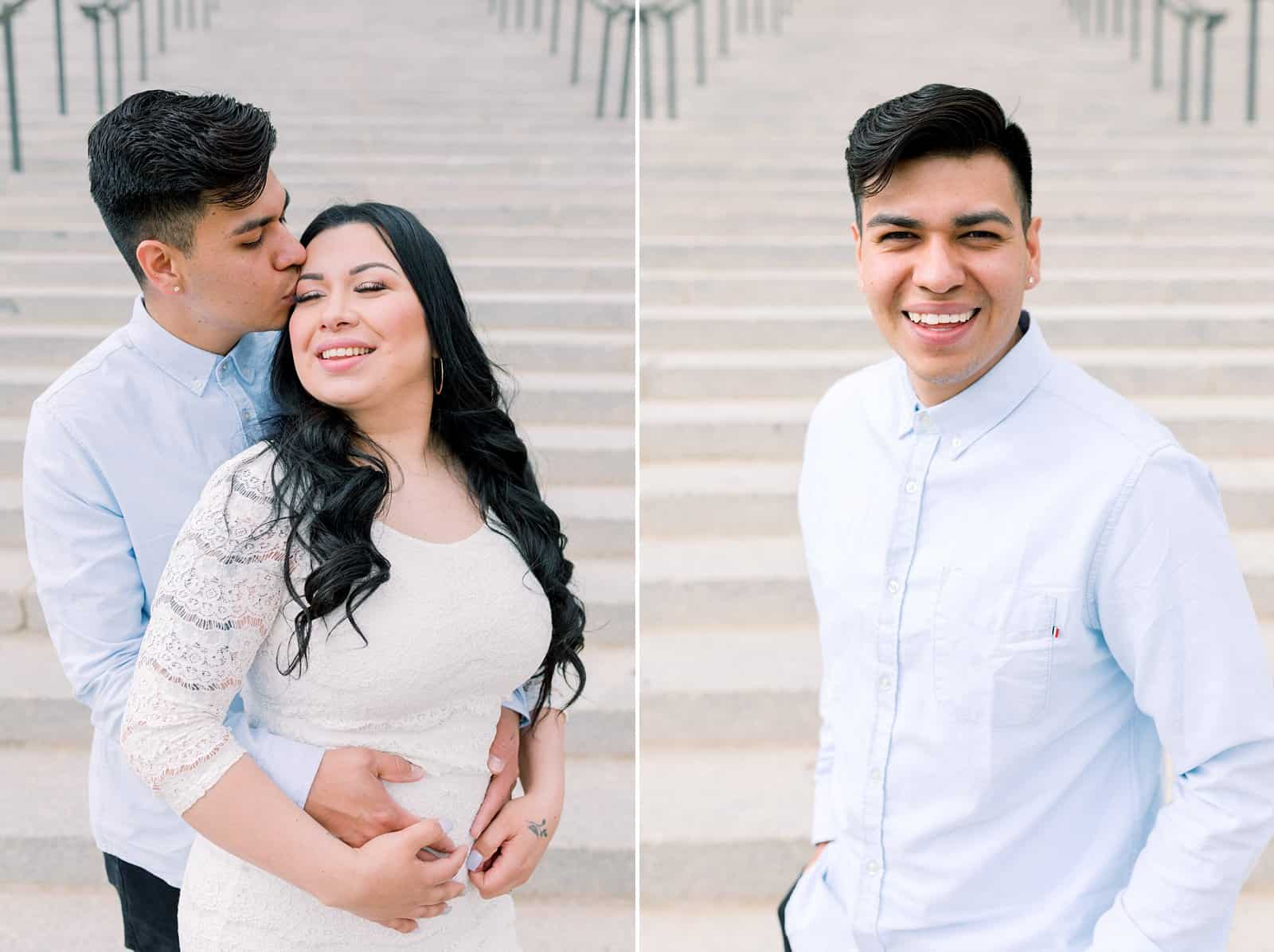 Classy engagement photos at the Utah State Capitol Building in downtown Salt Lake City, outfit for engagement pictures, short white lace dress and light blue button up shirt