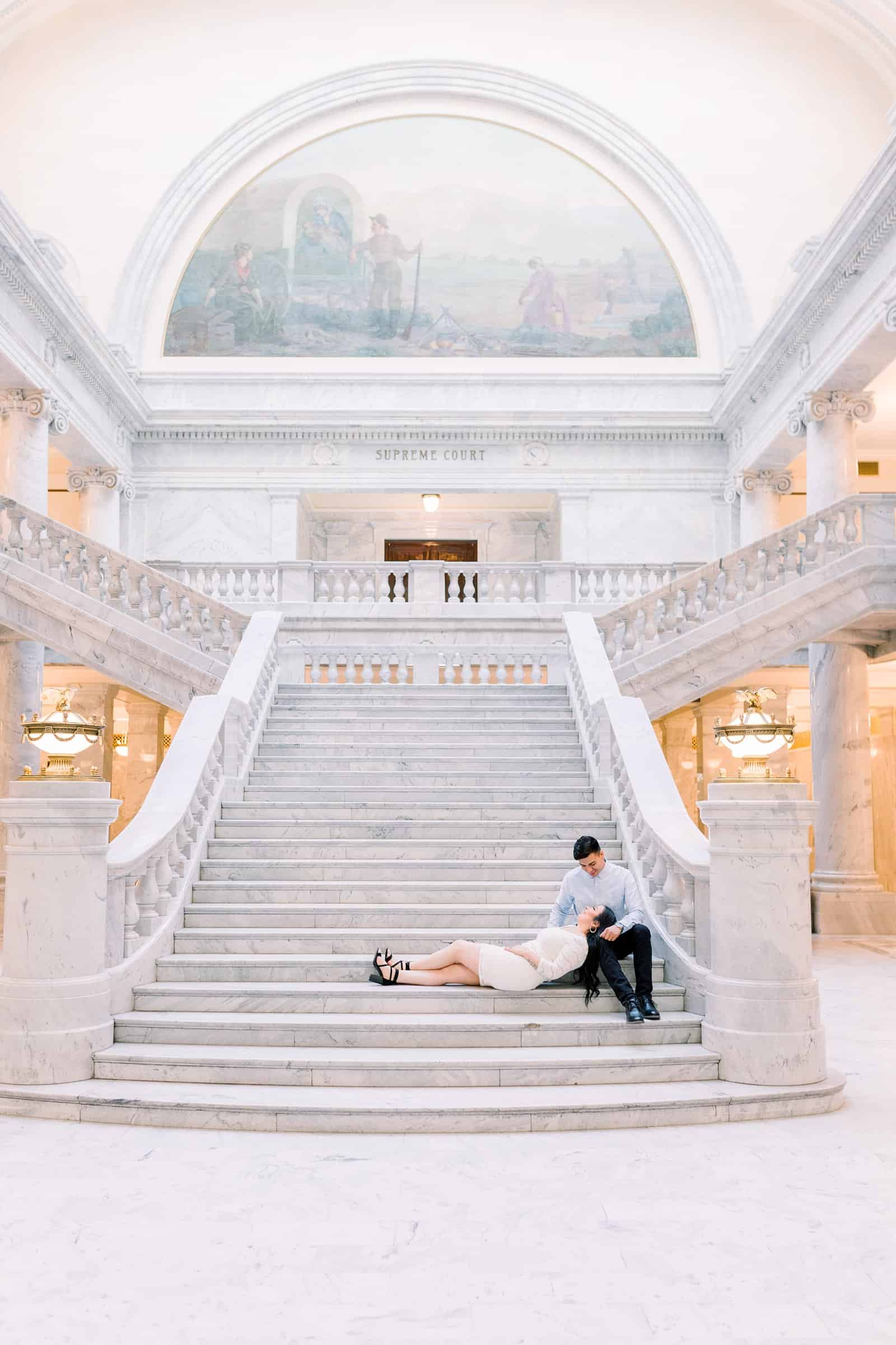 Classy engagement photos at the Utah State Capitol Building in downtown Salt Lake City, big marble staircase