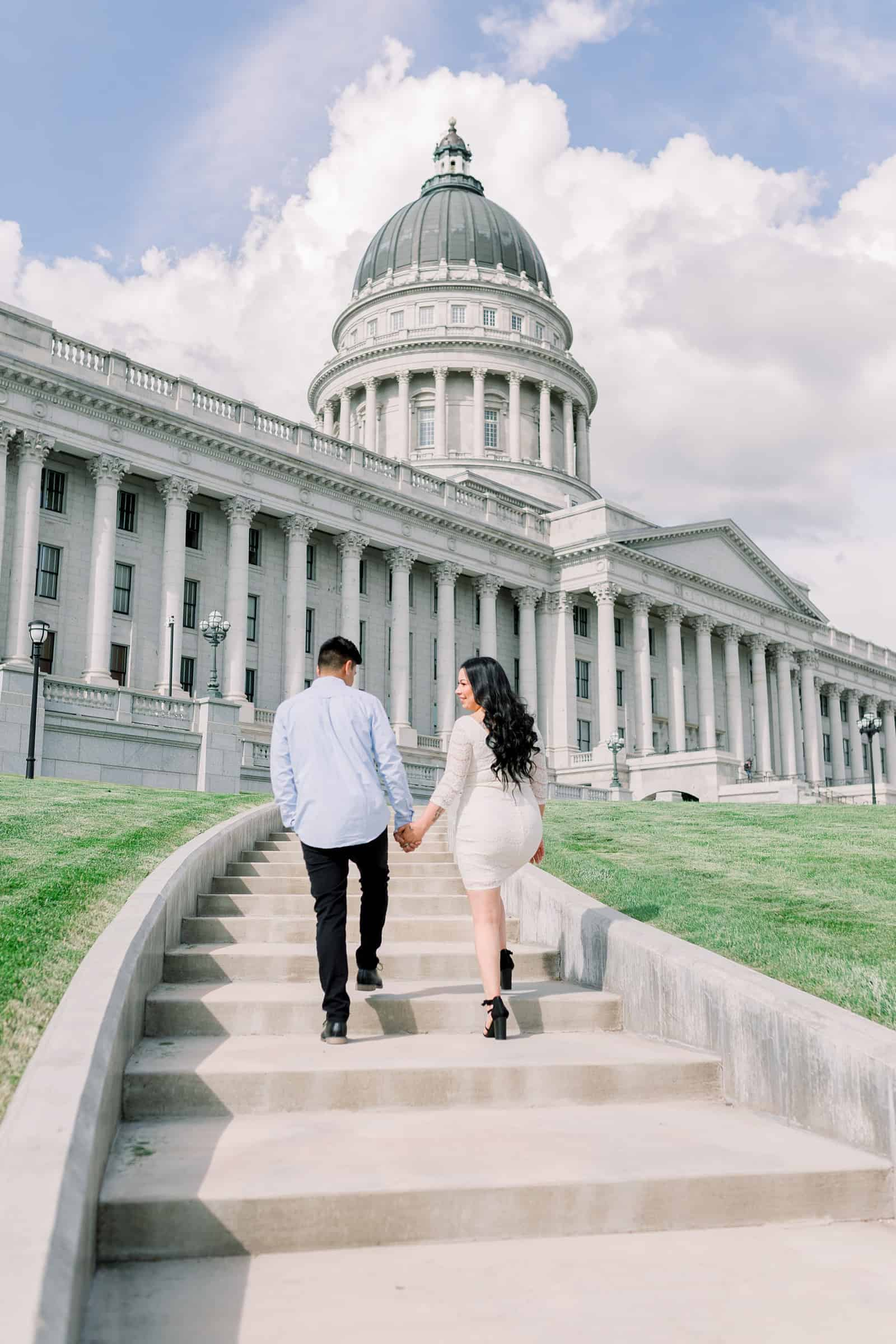 Classy engagement photos at the Utah State Capitol Building in downtown Salt Lake City, outfit for engagement pictures