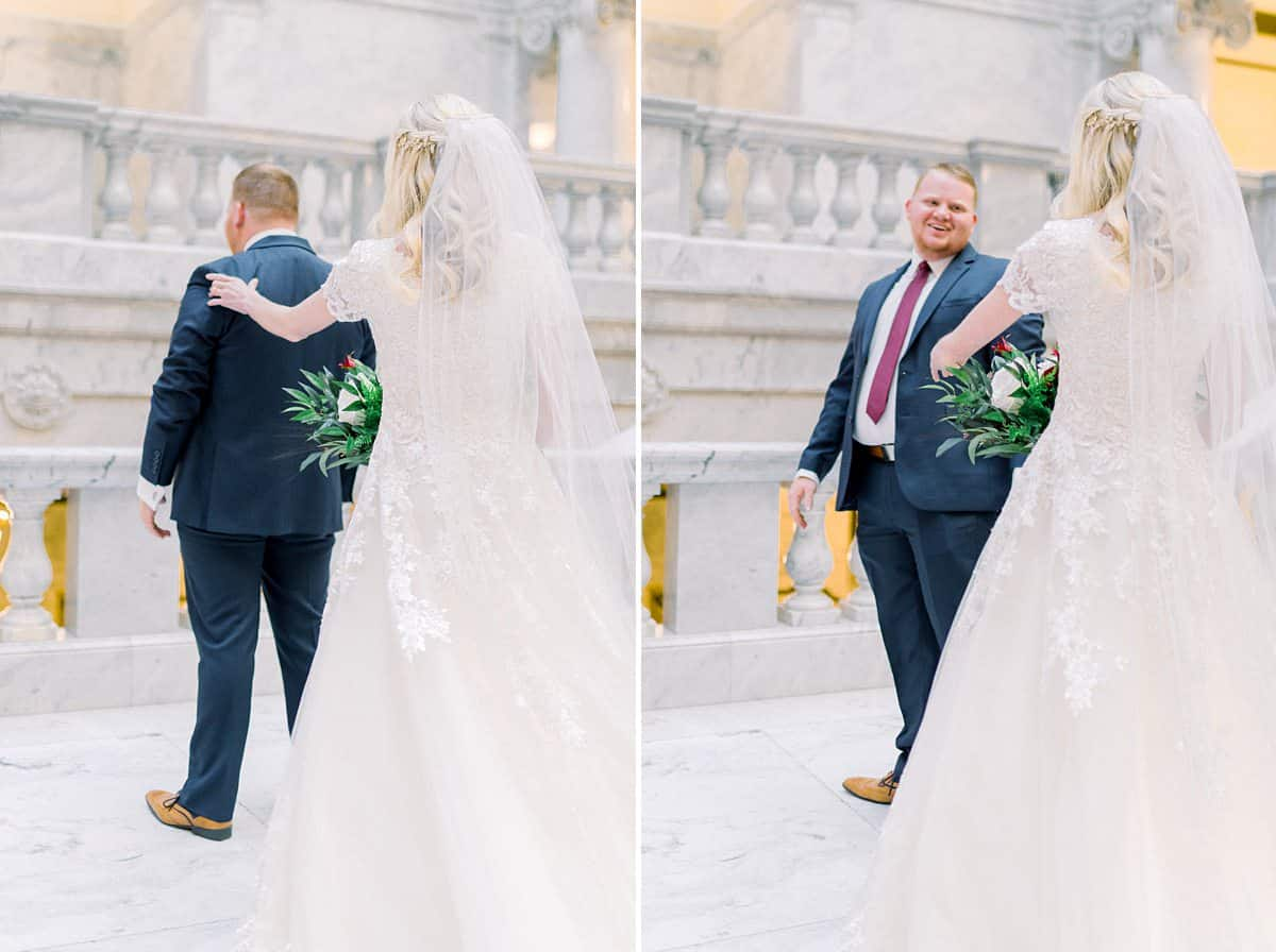 Bride and groom first look at Utah State Capitol Building, spring film wedding photography