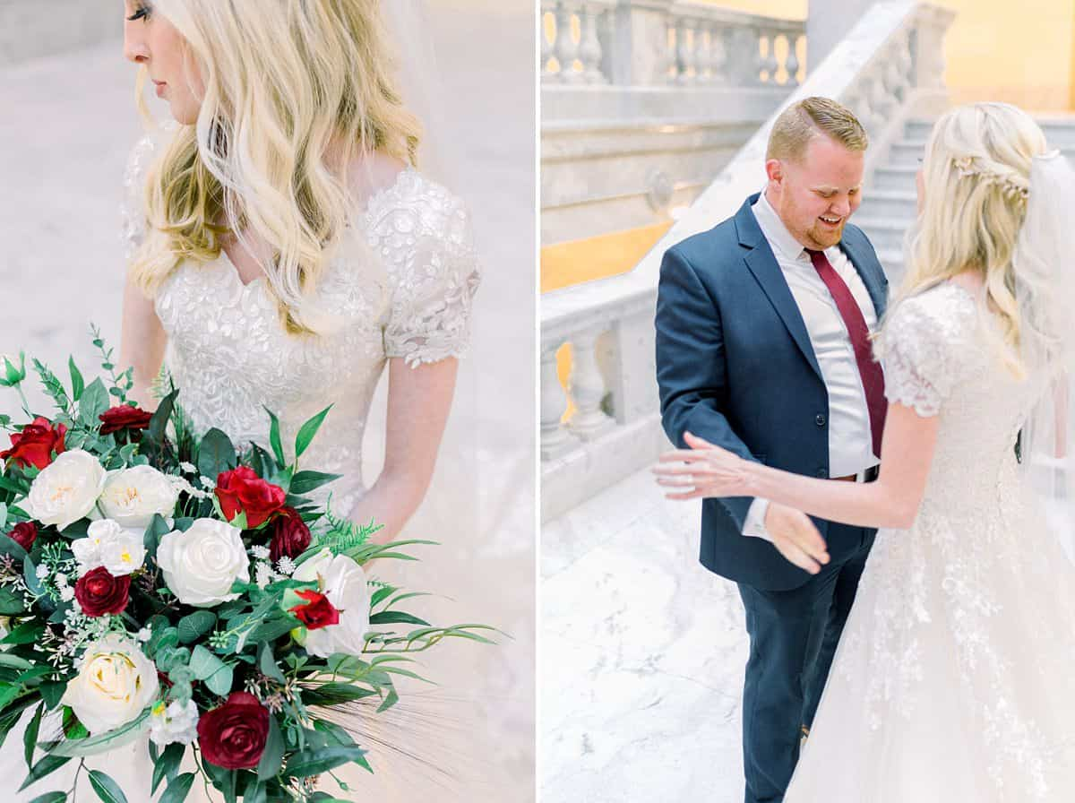 Bride and groom first look at Utah State Capitol Building, spring film wedding photography, red and white wedding bouquet flowers