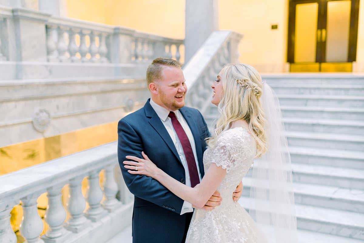 Bride and groom at Utah State Capitol Building, spring film wedding photography