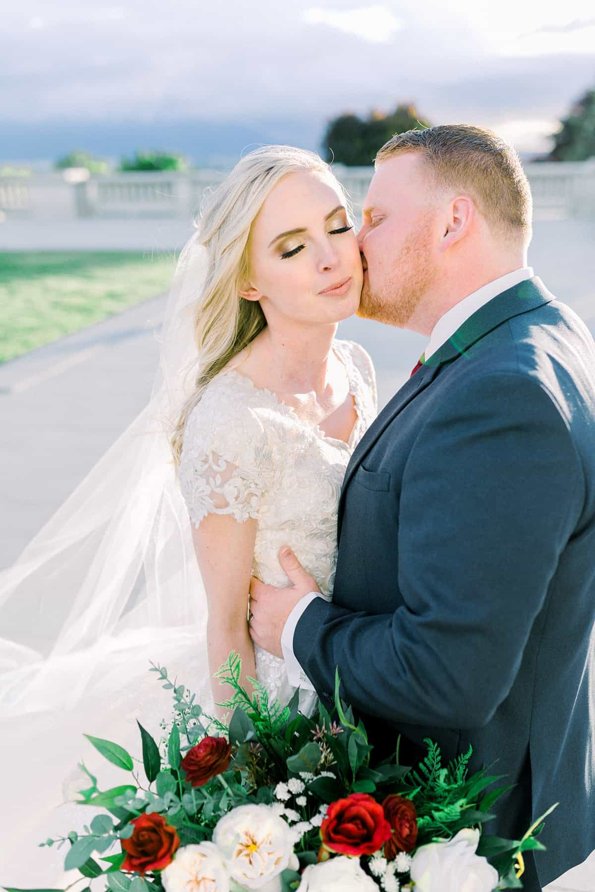 Spring film wedding photography, Utah bride and groom, modest wedding dress with long veil